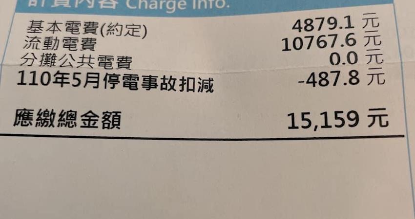 上個月停電2次經扣款後竟還是比開店四年以來的電費還要貴!男子求解:到底是什麼原因?